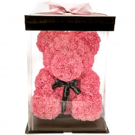 Αρκουδάκι ροζ 40 cm   από τεχνητά τριαντάφυλλα