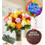 Bouquet of roses in vase , chocolates, cake and balloons - ΓΛΥ 072240