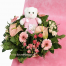 Basket with mix flowers and toys - BIRTH 16012