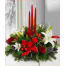 Christmas composition with roses, Casablanca and tropical foliage - ΧΡΙ 021021