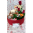 Box With Delicacies, Teddybear And Flowers