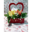 Wooden Box With Hearts, Orchids And Tropical Foliage